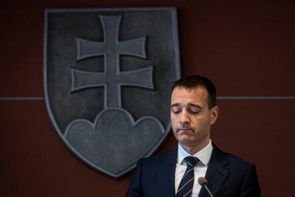 Tomáš Drucker pri oznámení rezignácie z miesta ministra vnútra v roku 2018.