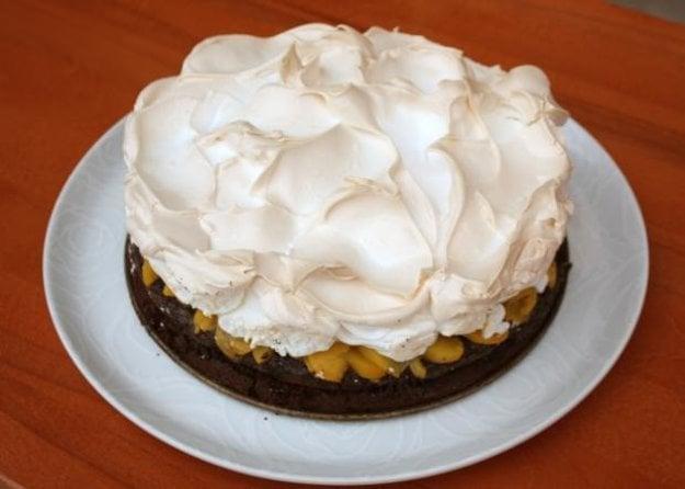 Čokoládová torta so snehom a broskyňami