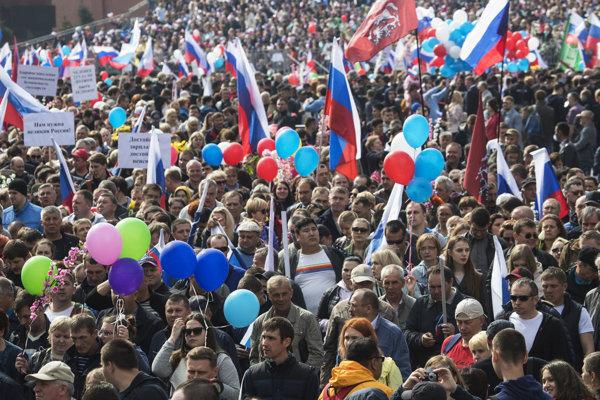 Prvomájový sprievod v Moskve.
