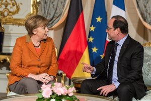 Angela Merkelová a Francois Hollande v Štrasburgu.