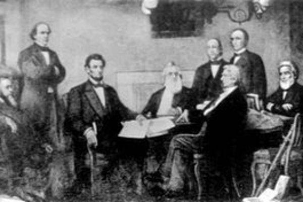 Abraham Lincoln podpisuje Proklamáciu emancipácie, ktorou oslobodil otrokov v južanských štátoch. Raz a navždy otroctvo v Spojených štátoch zrušil trinástym dodatkom k ústave.