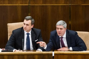 23. marec 2016. Andrej Danko a Béla Bugár počas ustanovujúcej schôdze Národnej rady SR.