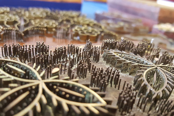 Fotografia z výstavy o modrotlači.