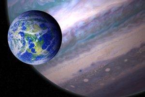 Umelecká predstava potenciálne obývateľného exomesiaca, ktorý obieha okolo plynného obra vo vzdialenej hviezdnej sústave,
