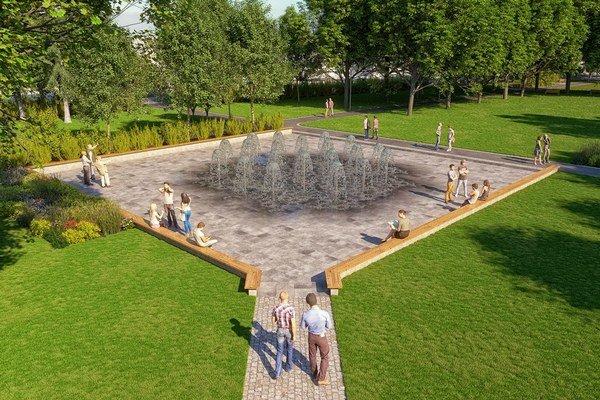 Nový vodný prvok v parku.