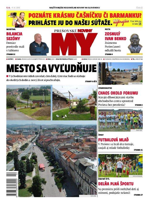 Titulná strana týždenníka MY Prešovské noviny č. 22/2018.