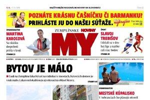 Titulná strana týždenníka MY Zemplínske noviny č. 22/2018.