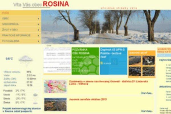 Webová stránka obce Rosina funguje tri roky.