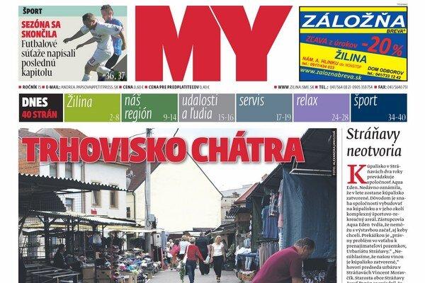 Titulka aktuálneho vydania Žilinských novín.