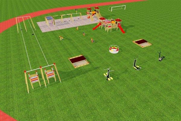 Najvýraznejším prvkom na novom ihrisku bude 29-metrová lanovka (vľavo). Budú tu aj tri fitnes stroje (vpravo v popredí).