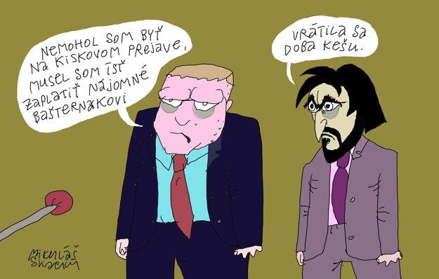 Sliacky karikatúrou reaguje na neúčasť Roberta Fica.