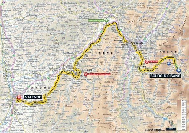 Mapa 13. etapy Tour de France 2018.