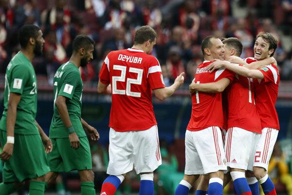 Ruskí futbalisti deklasovali Saudskú Arábiu 5:0.