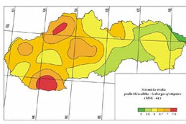 Seizmické riziko v Žiline je veľké, červená podľa stupnice znamená najväčšie riziko.