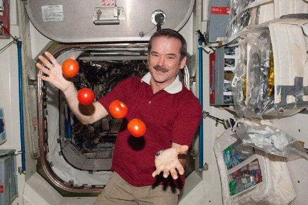 Kanadský astronaut Chris Hadfield žongluje s paradajkami na Medzinárodnej vesmírnej stanici v roku 2013.