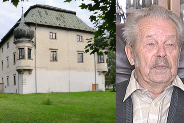 Vľavo rodový kaštieľ liptovských Okoličániovcov, dnes má iného majiteľa. Ján Okoličáni na fotografii vpravo.