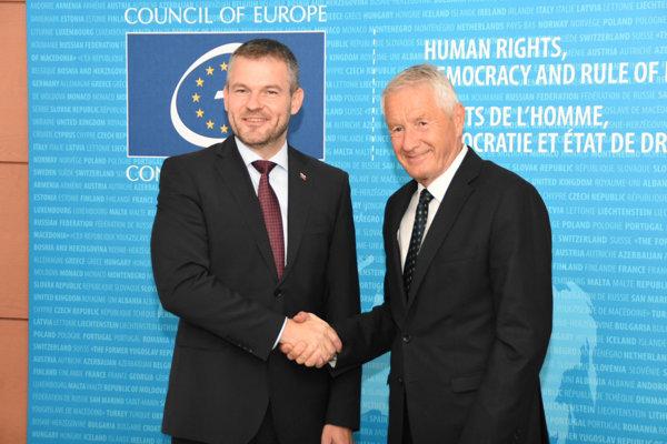 Peter Pellegrini a generálny tajomník Rady Európy Thorbjorn Jagland.