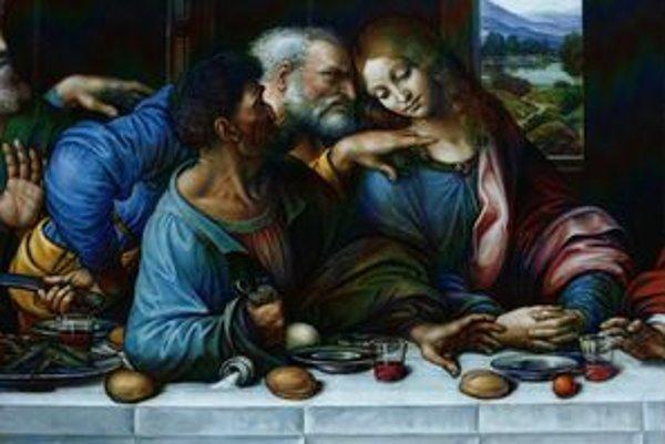 Judáš, Peter a Ján. Neukončená Posledná večera od Stana Lajdu.