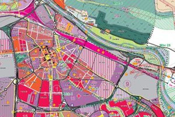 Výrez z územného plánu - centrum mesta.