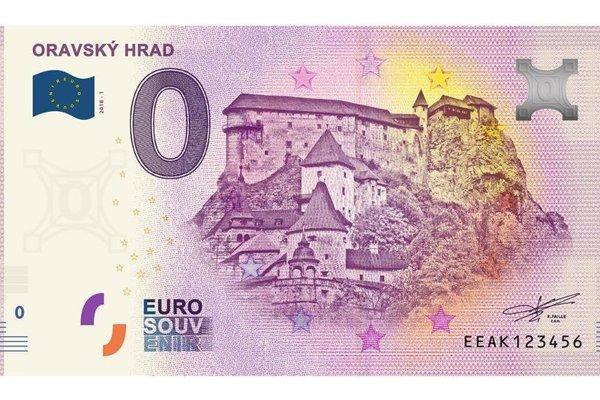 Nulová bankovka s hradom.