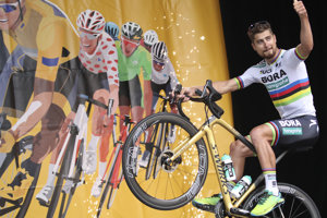 Peter Sagan počas predstavovania tímov pred Tour de France 2018 v La Roche-sur-Yon.