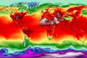Simulácia maximálnych teplôt z 3. júla 2018 na základe modelu Global Forecast System vo výške dva metre nad povrchom. Tmavofialová farba predstavuje teplotu -40, modrá -20, tyrkysová O, oranžová 20, tmavočervená 35, prechod medzi tmavočervenou a bielou od 40 do 50 stupňov Celzia.