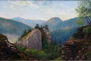 Pohľad od Muránskeho hradu smerom k bralu Cigánka.