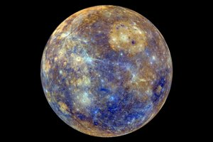 Farebne zvýraznený Merkúr.