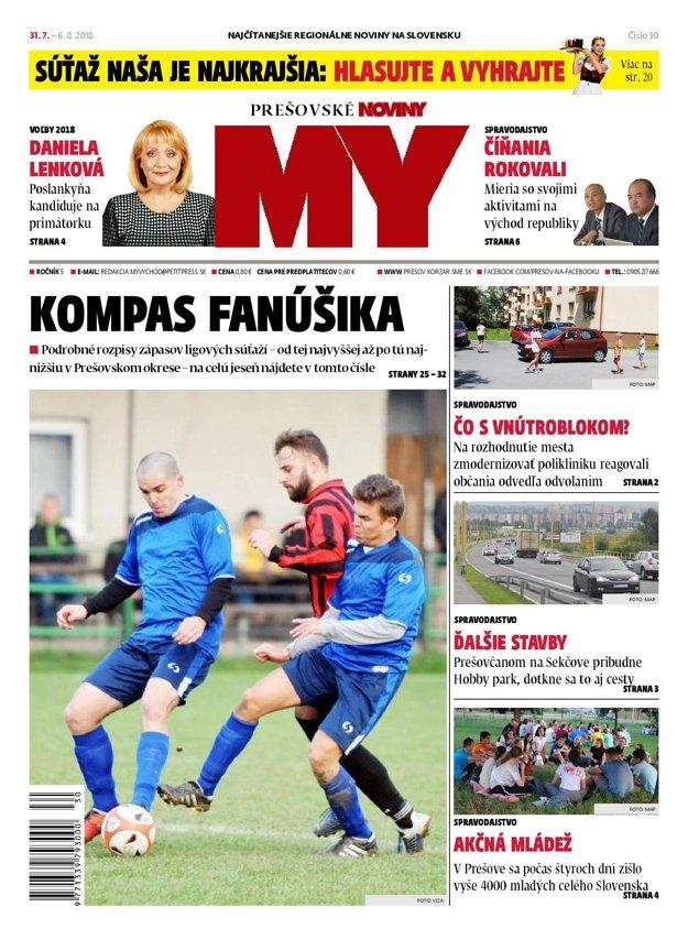 Titulná strana týždenníka MY Prešovské noviny č. 30/2018.