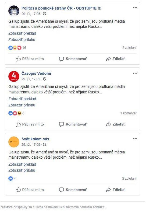 Dezinformáciu všetky stránky vypustili na facebook v rovnakom čase. 29. júla o 17:05
