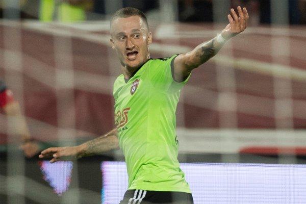 Hráč FC Spartak Trnava Erik Grendel sa raduje z gólu.