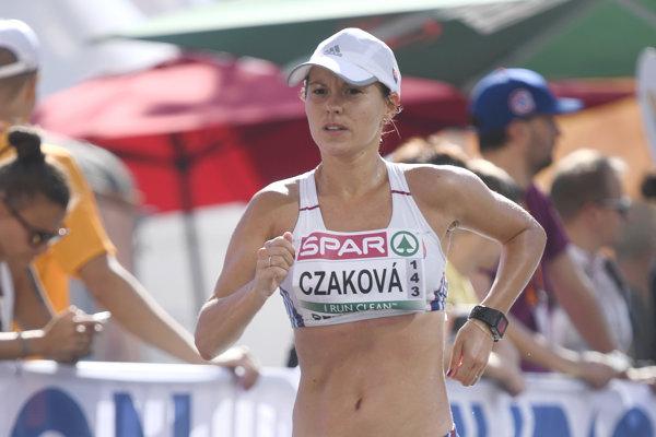 Slovenská chodkyňa Mária Katerinka - Czaková počas pretekov v chôdzi žien na 50 km.