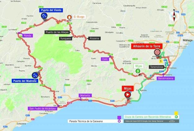 Mapa 3. etapy pretekov Vuelta 2018.