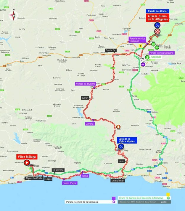 Mapa 4. etapy pretekov Vuelta 2018.