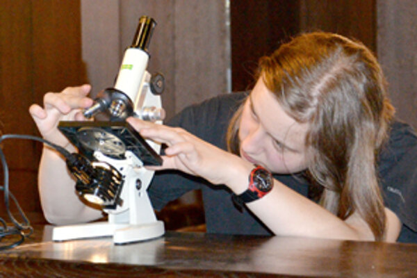 Ivana počas prípravy na pozorovanie delenia buniek cibule v Starej Lesnej.