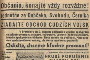 Časť titulného listu Východoslovenských novín z 23. 8. 1968.