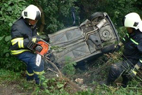 Havarované auto vyťahovali z priekopy hasiči.