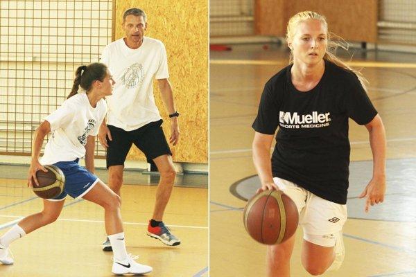 Tréner Pavol Horička a Natália Martišková. Vpravo nová rozohrávačka Adela Kudličková.