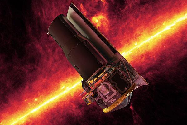 Vizualizácia Spitzerovho vesmírneho ďalekohľadu. V pozadí je hmlovina Rho Ophiuchi.