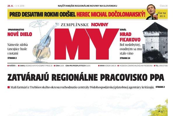 Titulná strana týždenníka MY Zemplínske noviny č. 34/2018.