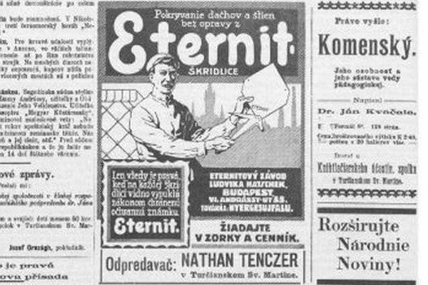 O nebezpečenstve azbestu a eternitu ľudia v roku 1914 nevedeli.