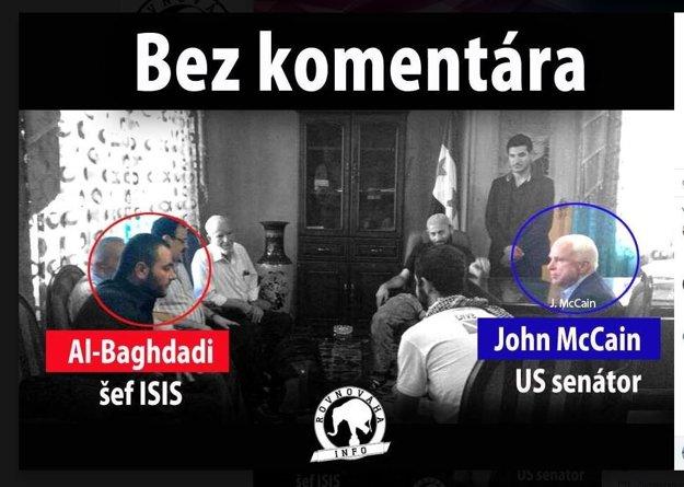 Jedna z fotografií z McCainovej návštevy v Sýrii. Na zábere nie je al-Baghdádí. Popis klame