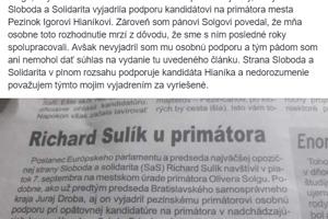 Príspevok Richarda Sulíka.