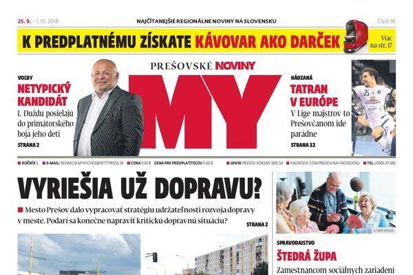 Titulná strana týždenníka MY Prešovské noviny č. 38/2018.