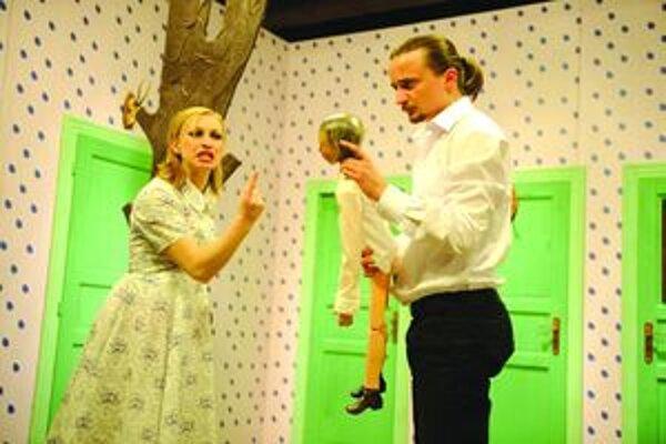 Kubo (remake)- premiéra v SKD Martin 8. apríla 2011. Na snímke Nadežda Jelušová (Anička) a Daniel Heriban (Kubo.