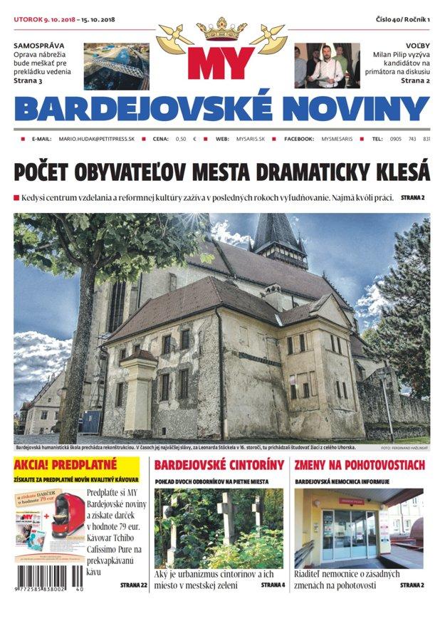 Titulka týždenníka MY Bardejovské noviny č.40