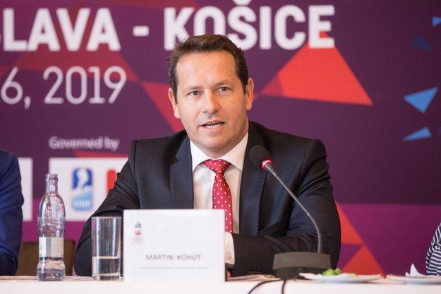 Prezident Slovenského zväzu ľadového hokeja Martin Kohút počas tlačovej konferencie organizačného výboru hokejových MS 2019 o novinkách v predaji vstupeniek.