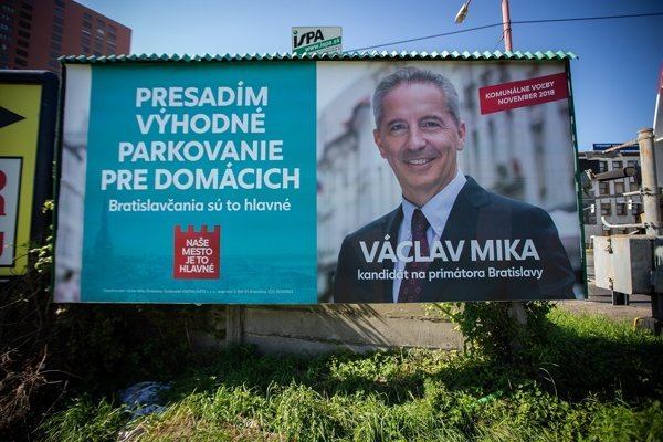Bilbord kandidáta na post primátora Bratislavy Václava Miku.