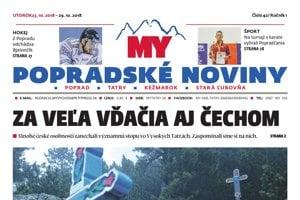 Titulná strana týždenníka MY Popradské noviny č. 42/2018.