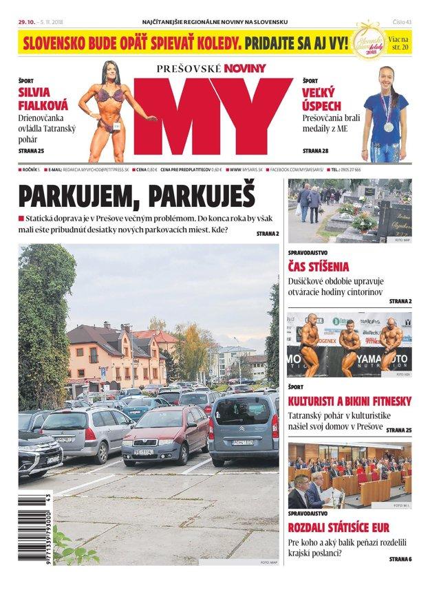 Titulná strana týždenníka MY Prešovské noviny č. 43/2018.